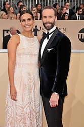 Maria Dolores Dieguez and Joseph Fiennes arrives at the 24th annual Screen Actors Guild Awards at The Shrine Exposition Center on January 21, 2018 in Los Angeles, California. <br />