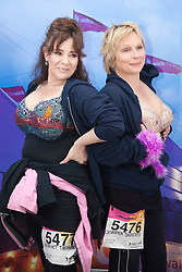 """© Licensed to London News Pictures. 12/05/2012. London, England. L-R: actress Harriet Thorpe and actress Jennifer Saunders. Members of Jen's Big Tits Team. The MoonWalk London 2012, Celebrating 15 years of Moon Walking for the breast cancer charity """"Walk the Walk"""". Photo credit: Bettina Strenske/LNP"""