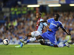 "Aston Villa's Fabian Delph battles for the ball with Chelsea's Ramires  - Photo mandatory by-line: Joe Meredith/JMP - Tel: Mobile: 07966 386802 21/08/2013 - SPORT - FOOTBALL - Stamford Bridge - London - Chelsea V Aston Villa - Barclays Premier League - EDITORIAL USE ONLY. No use with unauthorised audio, video, data, fixture lists, club/league logos or ""live"" services. Online in-match use limited to 45 images, no video emulation. No use in betting, games or single club/league/player publications"