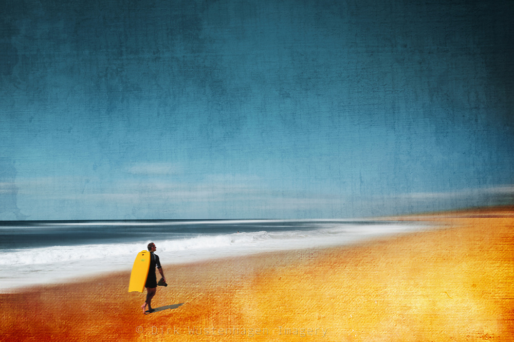 Abstract seascape with surfer on his way to a surf spot<br /> Prints and more of this image here: https://www.redbubble.com/shop/ap/86727251