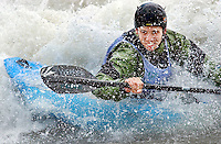 John Souter of Jackson tackles the King's Wave on the Snake River during the freestyle section of the Wyoming Whitewater Championships.