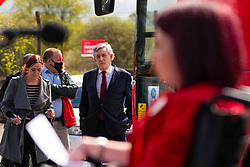 Glasgow, Scotland, UK. 5 May 2021. Scottish Labour Leader Anas Sarwar and former Prime Minister Gordon Brown appear at an eve of polls drive-in campaign rally in Glasgow today. Gordon Brown waits before his speech.  Iain Masterton/Alamy Live News