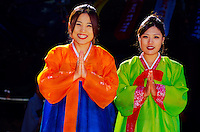 "Korean women wearing traditional ""Hanbok"" costume, Tongdosa Temple, north of Pusan, South Korea"