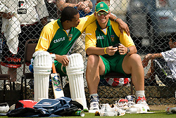 South Africa's Makhaya Ntini talks to Andre Nel (right) during a nets practice session at Edgbaston, Birmingham.