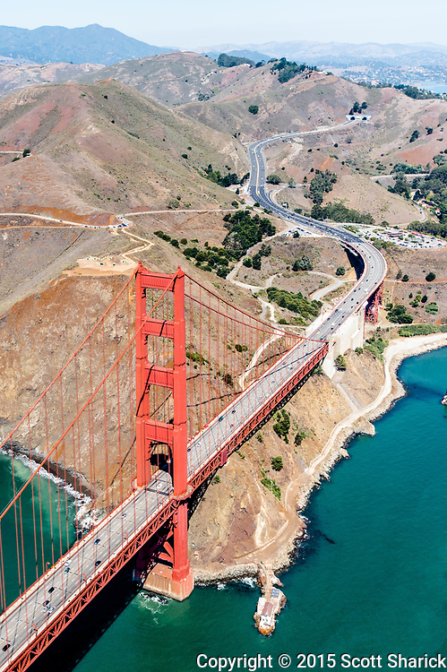 A helicopter view of the Golden Gate Bridge.