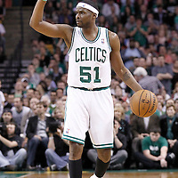10 May 2012: Boston Celtics point guard Keyon Dooling (51) calls a play as he brings the ball upcourt during the Boston Celtics 83-80 victory over the Atlanta Hawks, in Game 6 of the Eastern Conference first-round playoff series, at the TD Banknorth Garden, Boston, Massachusetts, USA.