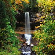 """""""Munising Falls in October""""<br /> <br /> Beautiful Munising Falls during the month of October with fall foliage just beginning!"""