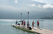 Aiguebelette, FRANCE. USA M8+, prepare for a morning training session at the 2014 FISA World Cup II, 09:23:59  Thursday  19/06/2014. [Mandatory Credit; Peter Spurrier/Intersport-images] © Peter SPURRIER, Atmospheric, Rowing