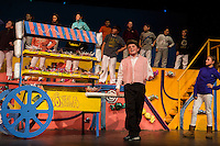 """The Candy Man Can (Bryce Cote) during dress rehearsal for Gilford Middle School's production of """"Willy Wonka""""  Monday evening.   (Karen Bobotas/for the Laconia Daily Sun)"""