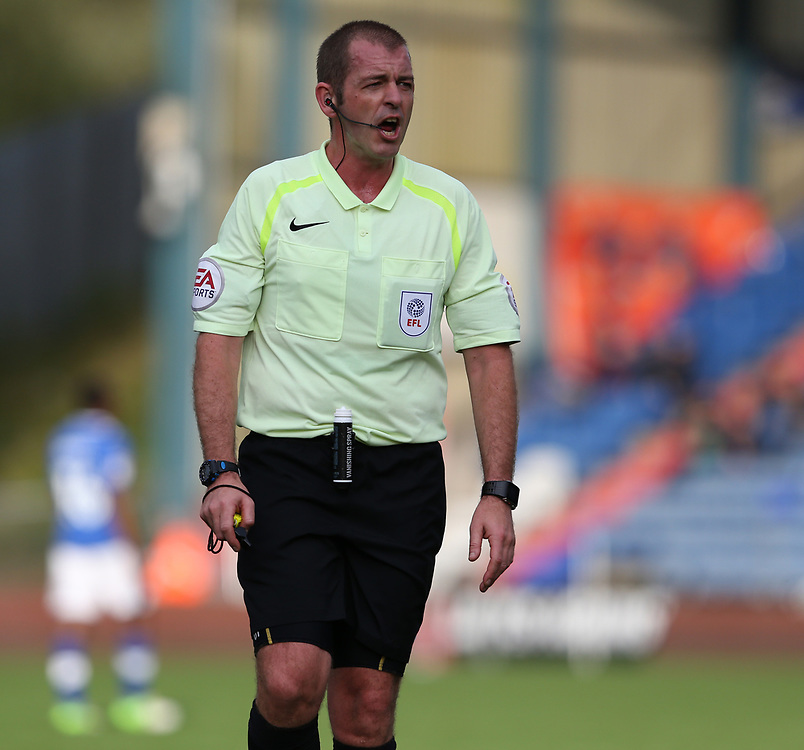 Referee Darren Handley<br /> <br /> Photographer Stephen White/CameraSport<br /> <br /> The EFL Sky Bet League One - Oldham Athletic v Blackburn Rovers - Saturday 14th October 2017 - Boundary Park - Oldham<br /> <br /> World Copyright © 2017 CameraSport. All rights reserved. 43 Linden Ave. Countesthorpe. Leicester. England. LE8 5PG - Tel: +44 (0) 116 277 4147 - admin@camerasport.com - www.camerasport.com