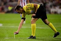 The referee using the spray during a match of La Liga Santander at Vicente Calderon Stadium in Madrid. October 29, Spain. 2016. (ALTERPHOTOS/BorjaB.Hojas)