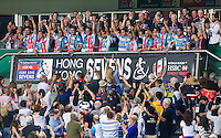 HONG KONG - APRIL 10:  Argentina players celebrate with the trophy after winning the Bowl final the 2016 Hong Kong Sevens at Hong Kong Stadium on April 10, 2016 in Hong Kong.  (Photo by Juan Manuel Serrano Arce/Getty Images)
