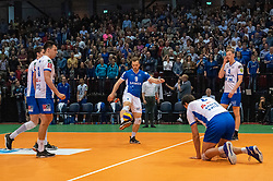 12-05-2019 NED: Abiant Lycurgus - Achterhoek Orion, Groningen<br /> Final Round 5 of 5 Eredivisie volleyball, Orion wins Dutch title after thriller against Lycurgus 3-2 / Stijn Held #3 of Lycurgus, Erik van der Schaaf #9 of Lycurgus, Wytze Kooistra #2 of Lycurgus