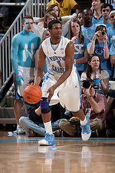 CHAPEL HILL, NC - FEBRUARY 15: Dexter Strickland #1 of the North Carolina Tar Heels dribbles the ball while playing the Wake Forest Demon Deacons at the Dean E. Smith Center in Chapel Hill, North Carolina. North Carolina won 64-78. (Photo by Peyton Williams/UNC/Getty Images) *** Local Caption *** Dexter Strickland