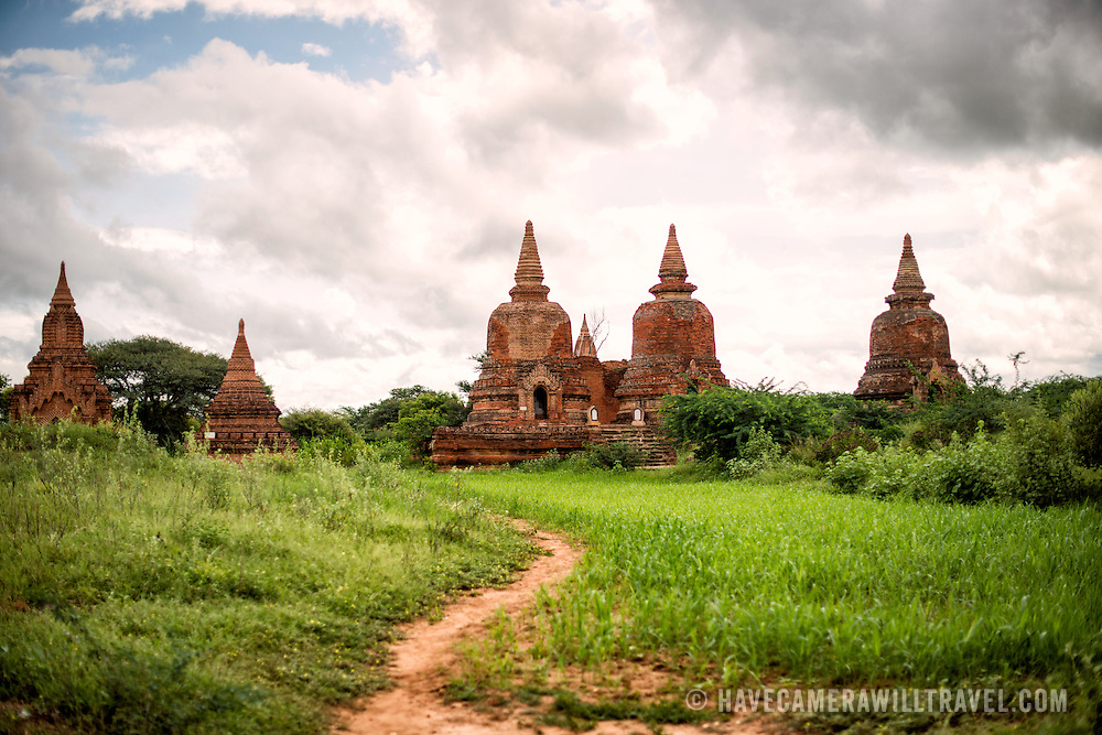 A cluster of small pagodas and stupas in the eastern part of the Bagan Archaeological Zone near Lemyethna Pagoda.