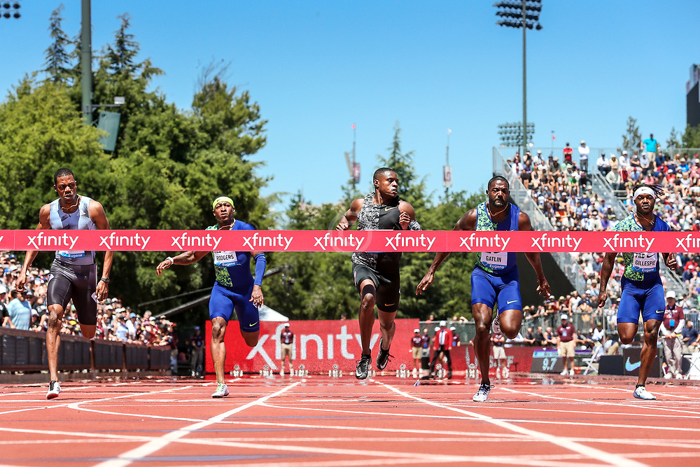 Christian Coleman, USA, winning the 100 meters with world-leading time of 9.81 at 2019 The Prefontaine Classic Track & Field<br /> IAAF Diamond League