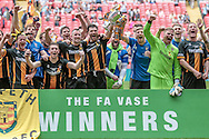 Morpeth Town players celebrate with the cup during the FA Vase match between Hereford and Morpeth Town at Wembley Stadium, London, England on 22 May 2016. Photo by Mark Doherty.