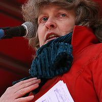 Consultant Physician in Nenagh hospital Christine O' Malley speaking during the hospital protest rally in Ennis on Satruday.<br /> Photograph by Yvonne Vaughan