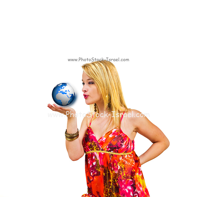 Yong blond woman has the whole world in the palm of her hand. On white Background