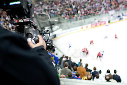 Cameraman during ice-hockey match between Austria and Slovenia at IIHF World Championship DIV. I Group A Slovenia 2012, on April 21, 2012 at SRC Stozice, Ljubljana, Slovenia. (Photo By Matic Klansek Velej / Sportida.com)