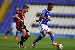 Birmingham City's Cohen Bramall (right) and AFC Bournemouth's Ryan Fraser battle for the ball during the Carabao Cup, Second Round match at St Andrew's, Birmingham.