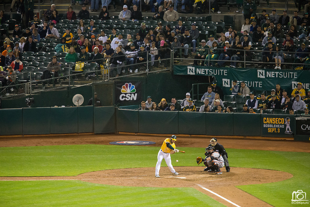 Oakland Athletics left fielder Coco Crisp (4) swings at a pitch against the Baltimore Orioles at Oakland Coliseum in Oakland, Calif. on August 8, 2016. (Stan Olszewski/Special to S.F. Examiner)