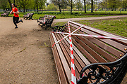 Lambeth Council closes the Banstand on Clapham Common and tapes up many of the benches to encourage exercise use and to discourage loitering, as per Government guidance. The 'lockdown' continues for the Coronavirus (Covid 19) outbreak in London.