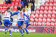 GOAL Reading forward Danielle Carter (18) runs away to celebrate after scoring during the FA Women's Super League match between Manchester United Women and Reading LFC at Leigh Sports Village, Leigh, United Kingdom on 7 February 2021.