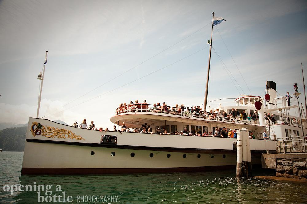 Paddlewheel steamboat at dock in Weggis, Switzerland, cruising Lake Lucerne. Full color version available upon request.