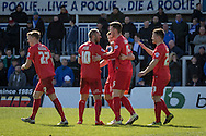 Kyle Cameron of York City FC (15) celebrates after scoring Yorks first goalduring  the Sky Bet League 2 match between Hartlepool United and York City at Victoria Park, Hartlepool, England on 16 April 2016. Photo by George Ledger.