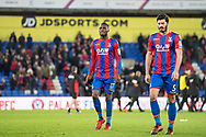 Crystal Palace #17 Christian Benteke, Crystal Palace #5 James Tomkins after  the Premier League match between Crystal Palace and Bournemouth at Selhurst Park, London, England on 9 December 2017. Photo by Sebastian Frej.