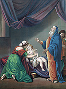 Elijah, Old Testament prophet, raising the widow's son from apparent death. 'Bible' 1 Kings 17. Coloured lithograph c1860