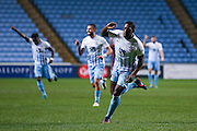 Coventry City forward Marvin Sordell (17) scores a goal  and celebrates to make the score 2-1 during the The FA Cup match between Coventry City and Morecambe at the Ricoh Arena, Coventry, England on 15 November 2016. Photo by Simon Davies.