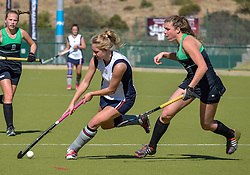 Olivia Levieux of St Stithians(white) and Ashleigh Vaughn of Pearson during day two of the FNB Private Wealth Super 12 Hockey Tournament held at Oranje Meisieskool in Bloemfontein, South Africa on the 7th August 2016, <br /> <br /> Photo by:   Frikkie Kapp / Real Time Images