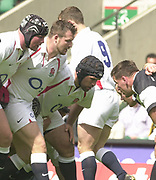 Twickenham. England. RFU Stadium, Surrey. <br /> Photo Peter Spurrier25/05/2003<br /> 2003 - Rugby - England v Barbarians.<br /> England front row Phil Vickery [left] Mark Regan centre  and Mike Worsley         [Mandatory Credit: Peter SPURRIER/Intersport Images]