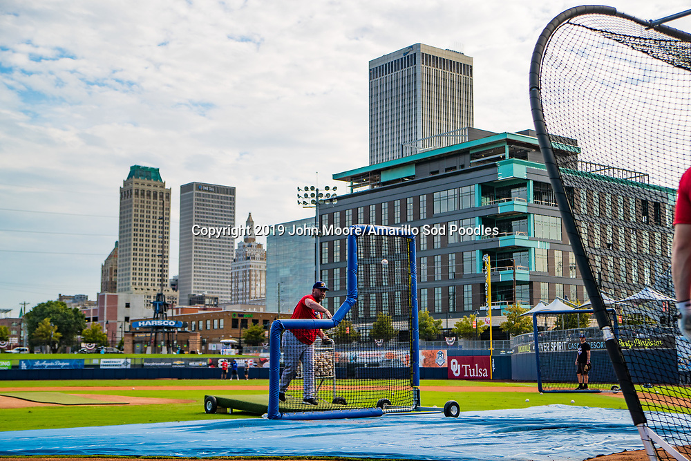 Amarillo Sod Poodles Manager Phillip Wellman pitches during batting practice before the game against the Tulsa Drillers during the Texas League Championship on Friday, Sept. 13, 2019, at OneOK Field in Tulsa, Oklahoma. [Photo by John Moore/Amarillo Sod Poodles]