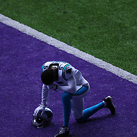 MINNEAPOLIS, MN - NOVEMBER 29: Teddy Bridgewater #5 of the Carolina Panthers prays in the end zone before the game against the Minnesota Vikings at U.S. Bank Stadium on November 29, 2020 in Minneapolis, Minnesota. The Minnesota Vikings defeated the Carolina Panthers 28-27.(Photo by Adam Bettcher/Getty Images) *** Local Caption *** Teddy Bridgewater