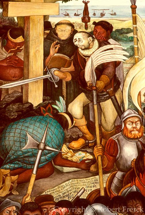 MEXICO, MEXICO CITY, MURAL Rivera's Arrival of Cortés at Veracruz