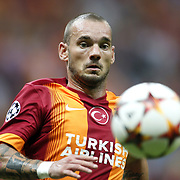 Galatasaray's Wesley Sneijder during their UEFA Champions League Group Stage Group D soccer match Galatasaray between Anderlecht at the Ali Sami Yen Spor Kompleksi in Istanbul, Turkey on Tuesday 16 September 2014. Photo by Aykut AKICI/TURKPIX