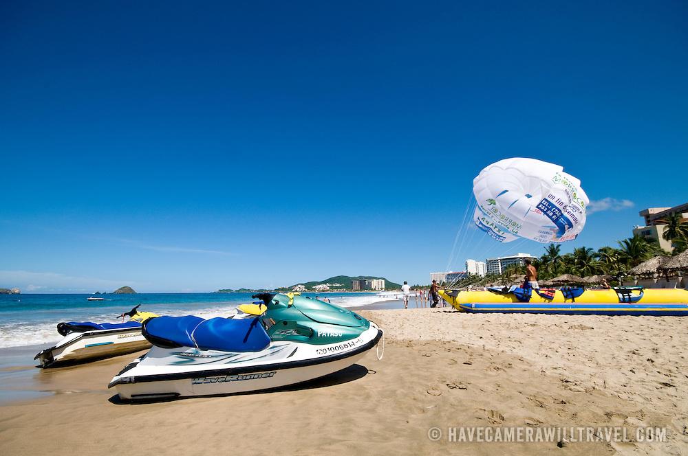 Jet skies on the beach at Bahia del Palmar (Palmar Bay) Ixtapa, Guerrero, Mexico