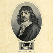 Portrait of René Descartes [Here as Rene Des Cartes] (31 March 1596 – 11 February 1650[) was a French-born philosopher, mathematician, and scientist who spent a large portion of his working life in the Dutch Republic, initially serving the Dutch States Army of Maurice of Nassau, Prince of Orange and the Stadtholder of the United Provinces. One of the most notable intellectual figures of the Dutch Golden Age, Descartes is also widely regarded as one of the founders of modern philosophy. Copperplate engraving From the Encyclopaedia Londinensis or, Universal dictionary of arts, sciences, and literature; Volume III;  Edited by Wilkes, John. Published in London in 1810
