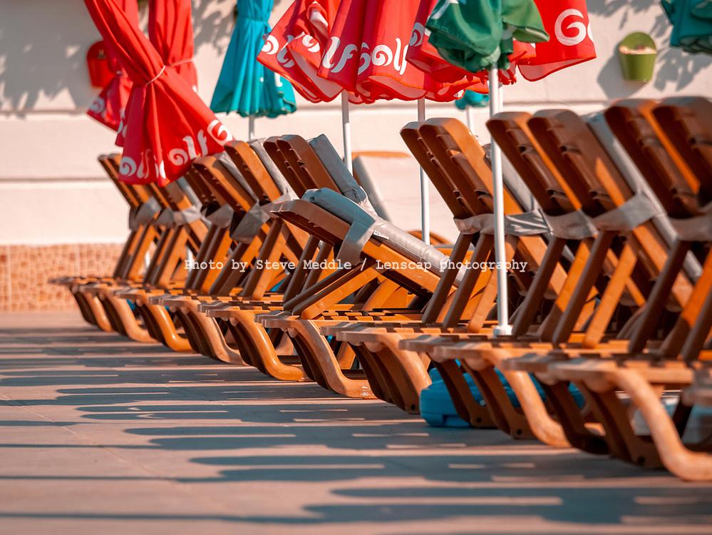 Empty sunbeds outside hotel in Kalkan, Turkey - 29 July 2018