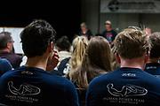 Teamleden zijn aanwezig bij de meeting voorafgaand aan de races in Battle Mountain. Het Human Power Team Delft en Amsterdam, dat bestaat uit studenten van de TU Delft en de VU Amsterdam, is in Amerika om tijdens de World Human Powered Speed Challenge in Nevada een poging te doen het wereldrecord snelfietsen voor vrouwen te verbreken met de VeloX 7, een gestroomlijnde ligfiets. Het record is met 121,44 km/h sinds 2009 in handen van de Francaise Barbara Buatois. De Canadees Todd Reichert is de snelste man met 144,17 km/h sinds 2016.<br /> <br /> With the VeloX 7, a special recumbent bike, the Human Power Team Delft and Amsterdam, consisting of students of the TU Delft and the VU Amsterdam, wants to set a new woman's world record cycling in September at the World Human Powered Speed Challenge in Nevada. The current speed record is 121,44 km/h, set in 2009 by Barbara Buatois. The fastest man is Todd Reichert with 144,17 km/h.