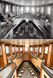 "© Licensed to London News Pictures. 30/09/2016. Birkenhead UK. Top collect picture shows the upper saloon of the Daniel Adamson in 1936, bottom picture shows the upper saloon today. The Daniel Adamson steam boat has been bought back to operational service after a £5M restoration. The coal fired steam tug is the last surviving steam powered tug built on the Mersey and is believed to be the oldest operational Mersey built ship in the world. The ""Danny"" (originally named the Ralph Brocklebank) was built at Camel Laird ship yard in Birkenhead & launched in 1903. She worked the canal's & carried passengers across the Mersey & during WW1 had a stint working for the Royal Navy in Liverpool. The ""Danny"" was refitted in the 30's in an art deco style. Withdrawn from service in 1984 by 2014 she was due for scrapping until Mersey tug skipper Dan Cross bought her for £1 and the campaign to save her was underway. Photo credit: Andrew McCaren/LNP"