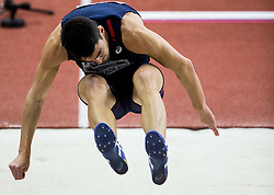 Bastien Auzeil of France competes in the Heptathlon Long Jump Men on day two of the 2017 European Athletics Indoor Championships at the Kombank Arena on March 4, 2017 in Belgrade, Serbia. Photo by Vid Ponikvar / Sportida