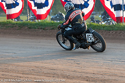The Spirit of Sturgis antique motorcycle flat track race at the historic Sturgis Half Mile during the 78th annual Sturgis Motorcycle Rally. Sturgis, SD. USA. Monday August 6, 2018. Photography ©2018 Michael Lichter.