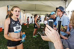 adidas Grand Prix Diamond League Track & Field: womens 1000m, Mary Cain with reporters in mix zone , Mary Cain, Nike