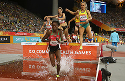 Kenya's Purity Cherotich Kirui leads the Women's 3000m Steeplechase Final at the Carrara Stadium during day seven of the 2018 Commonwealth Games in the Gold Coast, Australia. PRESS ASSOCIATION Photo. Picture date: Wednesday April 11, 2018. See PA story COMMONWEALTH Athletics. Photo credit should read: Danny Lawson/PA Wire. RESTRICTIONS: Editorial use only. No commercial use. No video emulation.