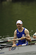 2006 FISA World Cup, Lucerne, SWITZERLAND, 08.07.2006. FRA M4- Bastien RIPOL,  Photo  Peter Spurrier/Intersport Images email images@intersport-images.com....[Mandatory Credit Peter Spurrier/Intersport Images... Rowing Course, Lake Rottsee, Lucerne, SWITZERLAND.