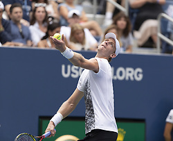 August 31, 2018 - New York, New York, United States - Kevin Anderson of South Africa serves during US Open 2018 3rd round match against Denis Shapovalov of Canada at USTA Billie Jean King National Tennis Center (Credit Image: © Lev Radin/Pacific Press via ZUMA Wire)